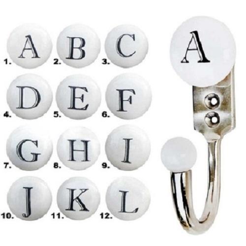 Ceramic White Alphabet Wall Hooks