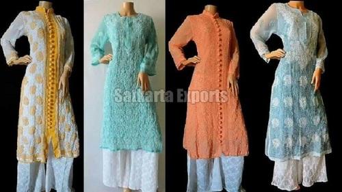 Elegant Design Full Sleeve Chikan Suits For Ladies