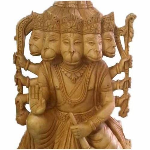Handmade Polished Wooden Brown Panchmukhi Hanuman Statue