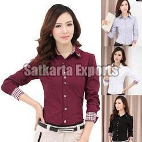 Ladies Full Sleeve Cotton Plain Shirts
