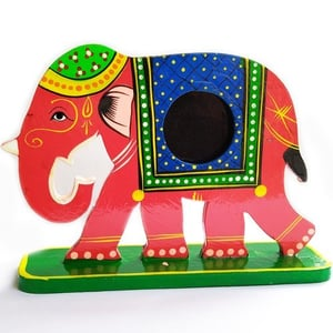 Elephant Design Wooden Hand Painted Photo Frame