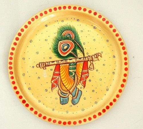 Lord Krishna Round Decorative Wooden Plate