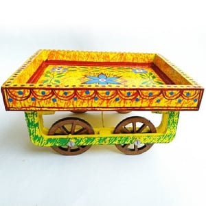 Multi Color Handcrafted Wooden Hand Painted Cart