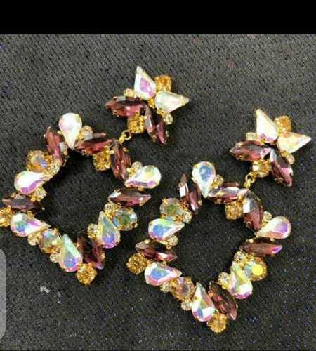 Party Wear Artificial Fancy Stone Coated Earrings