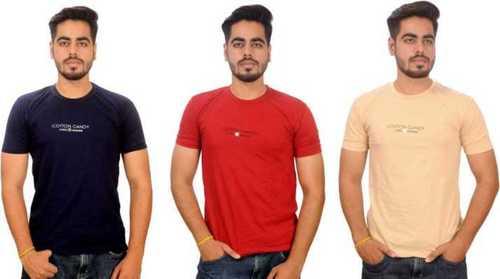 Mens Round Neck Half Sleeves Cotton T Shirt