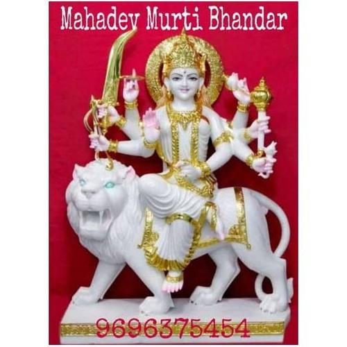 30 Inch 40kg Glossy White Marble Durga Mata Statue