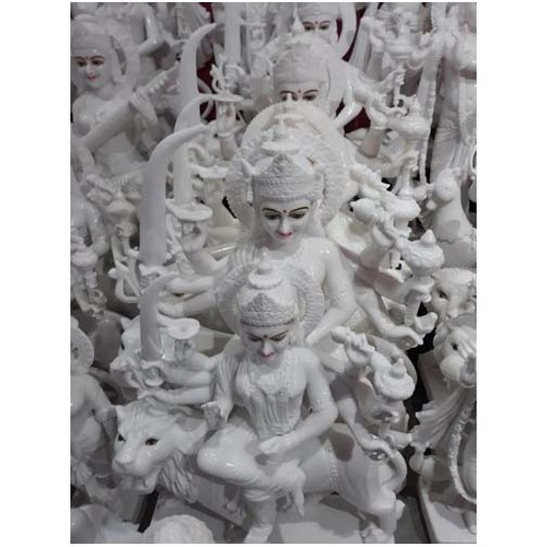72 Inch Glossy White Marble Durga Mata Statue