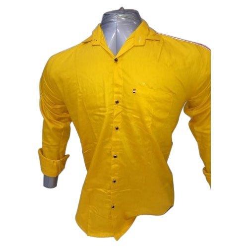 Mens Yellow Plain Shirt