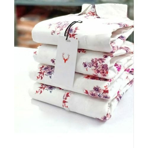Printed Mens White Shirt