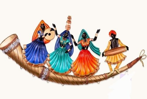 Rajasthani Culture Dancing Trumpet Wrought Iron Wall Hanging