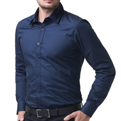 Blue Plain Silk Shirt For Mens, Handloom Technics (Size M, S)