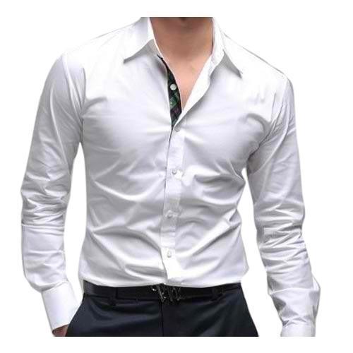 Mens White Formal Long Sleeve Plain Shirt (Size L, M, S)