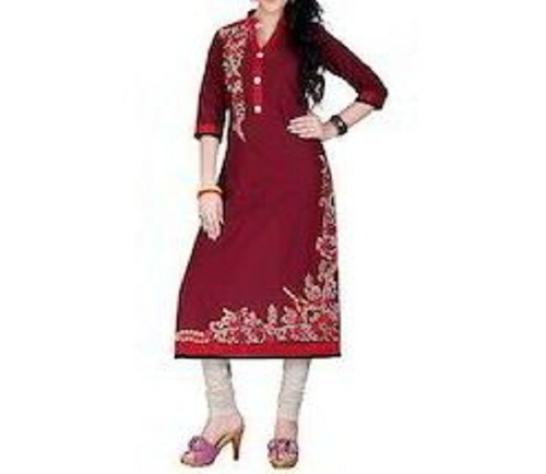 Party Wear Printed Cotton Maroon Kurti For Ladies (Size S, M, L)