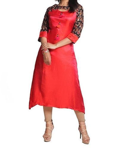 Printed And Plain Cotton Ladies Red Kurti (Size L, M, S)
