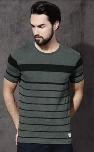 Regular Fit Half Sleeve Cotton Striped T Shirt For Mens (Size L, M, S, Xl)