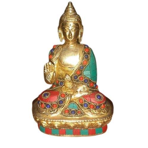 5 Inch Handmade Beaded Brass Sitting Buddha Statue