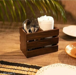 Finely Finished Wooden Cutlery Holder