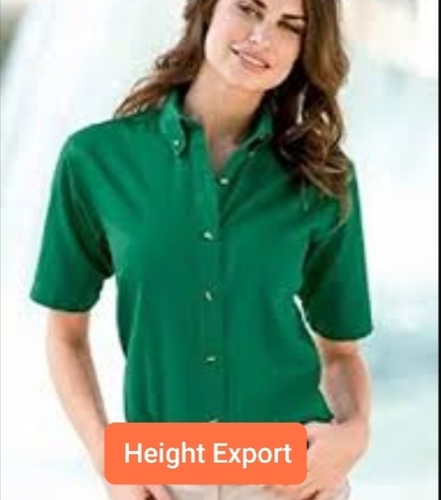 Ladies Plain Cotton Casual Shirts, Standing Type Collar, Green Color (Size Xl, Xxl)