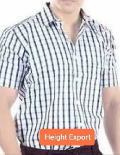 Short Sleeves Check Cotton Plain Shirts For Mens