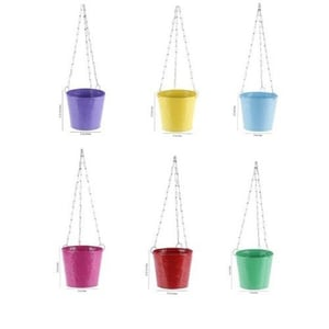Color Coated Round Metal Hanging Planter