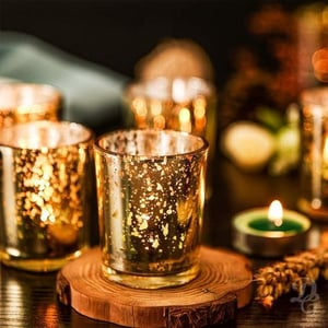 Decent Glass Set Of 12 Silver Mercury Votive Tealight Candle Holders For Diwali &Amp; Christmas, Lighting Decoration, Corporate Gifts, Home Decor (Gold, 12)