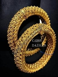 Round Shape Gold Bangles For Ladies, Attractive Design, Dimension : 4inch, 4.5inch