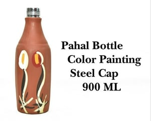 Terracotta Clay Pahal Color Painting Bottle With Steel Cap