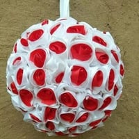 Red And White Decorative Satin Flower Ball
