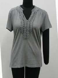 Ladies Plain V Neck T Shirt, Half Sleeve, Well Stitched, Gorgeous Look, Gray Color