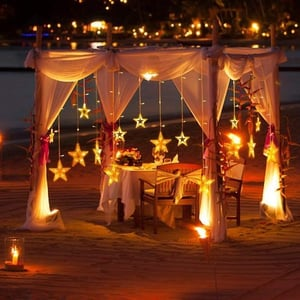 12 Star Very Attractive Warm Yellow Led Curtain String Light