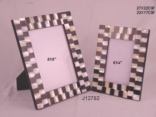 Photo Frame With Mosaic Of Mother Of Pearl And Horn