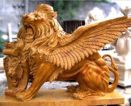 Handmade Marble Lions Statues