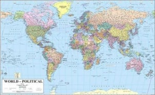 Printed World Political Map
