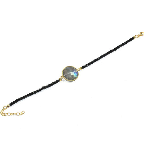 Labradorite With Black Spinel Bracelet