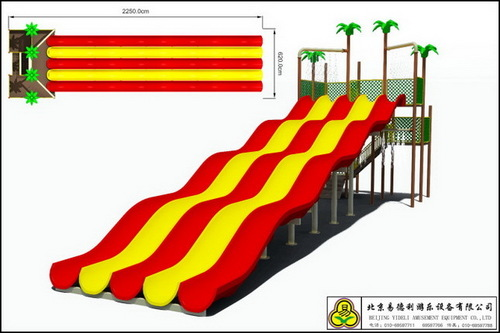 Red and Yellow Amusement Water Park Slide