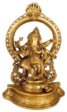 Decorative Lord Dancing Ganesha Statue Made By Metal Brass