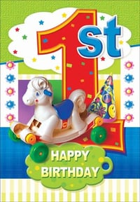 Printed First Birthday Greeting Cards
