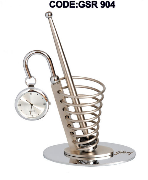 Spiral Pen Stand With Watch