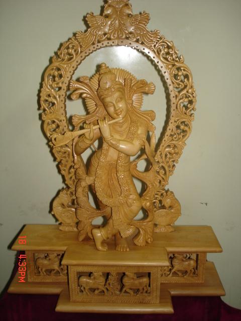 Wooden Special Fine Jali Mehrab With Krishna Maruti Sandalarts