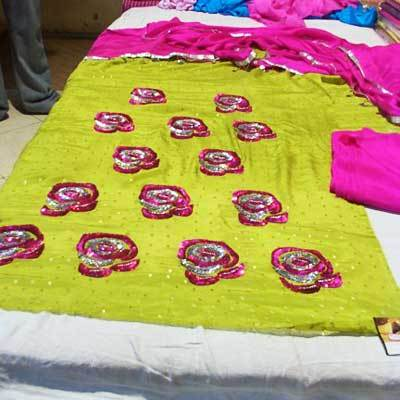 Yellow And Pink Eye Catchy Color Designer Suits