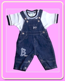 Cotton Denim Embroidered Dungaree in  Pankha Road