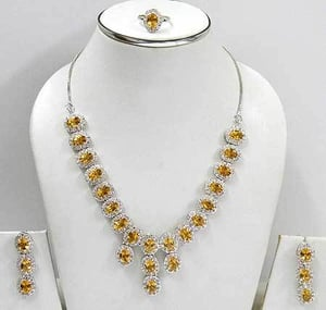 Silver Beaded Necklace Set