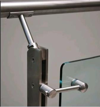 Vertical Posts For Glass Railings In Two Solid S.S. Tubes