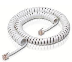 White Colored Coil Cord 4P4C