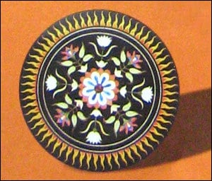Various Colors Are Available Round Shape Inlay Marble Top