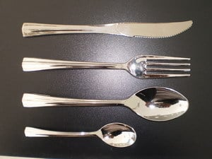 Forks Disposable Plastic Silver Cutlery