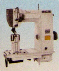 Post-Bed Sewing Machine With Wheel Feed And Driven Roller Pressure