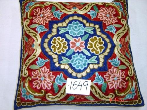 Silk Chain-Stitch Cushion Cover