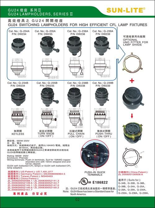 GU24 Switching Lampholders