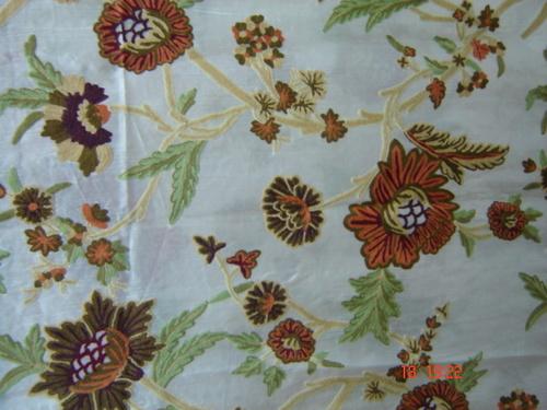Silk Organza Hand Embroidered Crewel Fabric